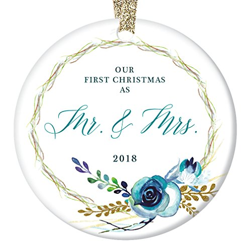 Shabby Chic Mr & Mrs Christmas Ornament 2018, Our First Christmas Married Couple Wedding Gift Boho Floral Wreath Country Decorations Ceramic Present 3″ Flat Porcelain with Gold Ribbon & Free Gift Box