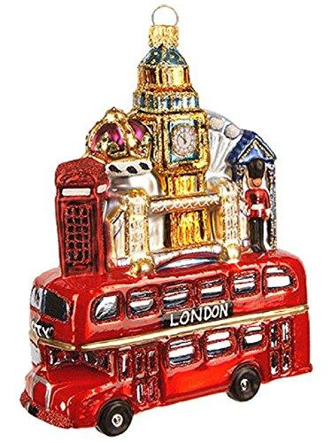 Pinnacle Peak Trading Company London Bus with England Building Landmarks Polish Glass Christmas Tree Ornament