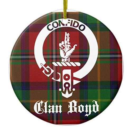Ditooms Clan Boyd Crest Tartan Ceramic Ornament Circle 3 Inches