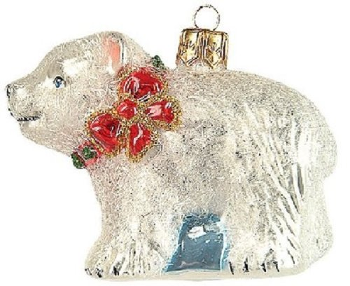 Pinnacle Peak Trading Company Little Polar Bear Polish Glass Christmas Ornament