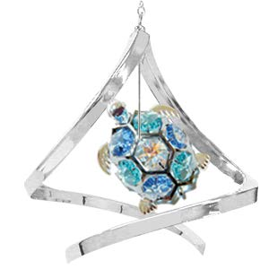 Chrome Sea Turtle in Propelling Spiral Ornament w/Mixed Swarovski Element Crystal