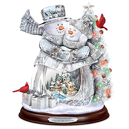 Bradford Exchange Thomas Kinkade Crystal Snowman Musical Sculpture with Color Changing Lights by The