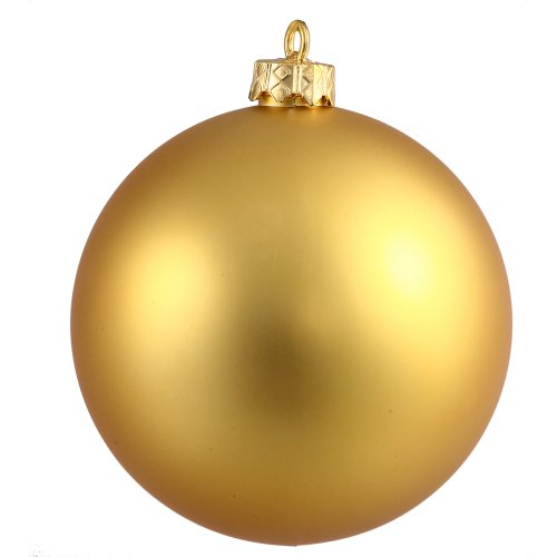 Vickerman Matte Finish Seamless Shatterproof Christmas Ball Ornament, UV Resistant with Drilled Cap, 4 per Bag, 4.75″, Gold