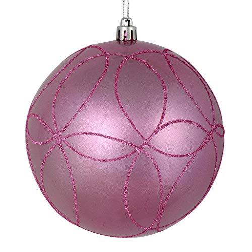 Vickerman 537336-4.75″ Pink Candy Ball Circle Glitter Christmas Tree Ornament (4 pack) (N182579D)