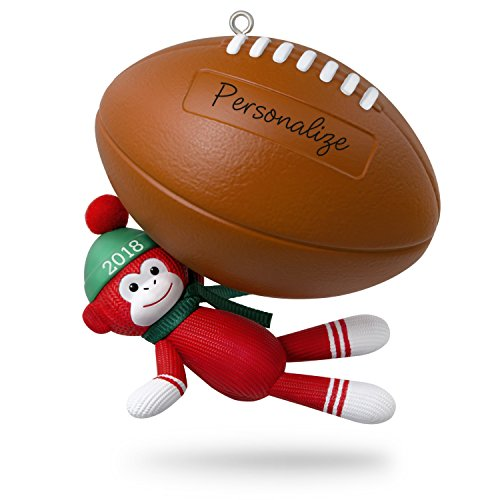 Hallmark Keepsake Personalized Christmas Ornament 2018 Year Dated, Football Star Sock Monkey