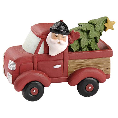 Blossom Bucket Santa Driving Truck 2.75 x 3.75 Inch Resin Stone Christmas Tabletop Figurine
