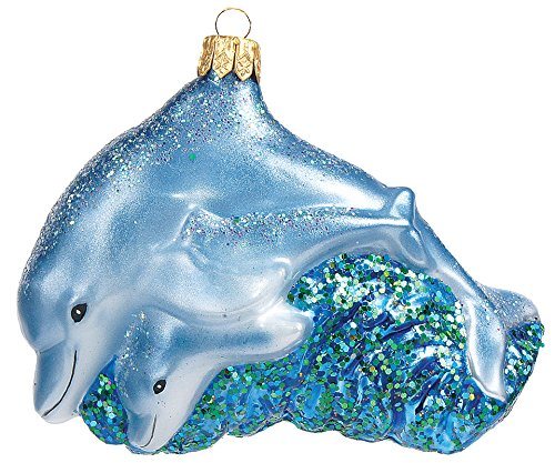 Pinnacle Peak Trading Company Dolphin Mother with Calf Polish Mouth Blown Glass Christmas Ornament Decoration