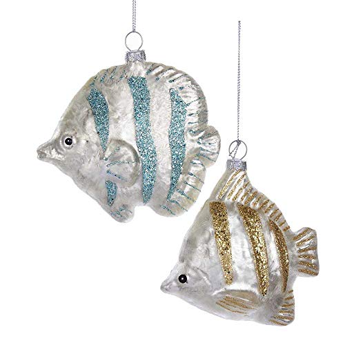 Kurt Adler 4.6-Inch – 4.8-Inch Glass Fish Ornament Set of 2