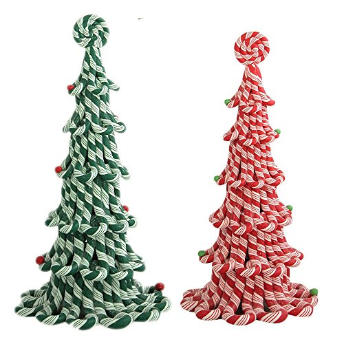 Byers' Choice Candy Cane Trees Set/2 – Red 12″ & Green 13″