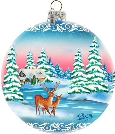 GDeBrekht 73114 5.5 in. Winter Forest Moose Glass Ball Ornament