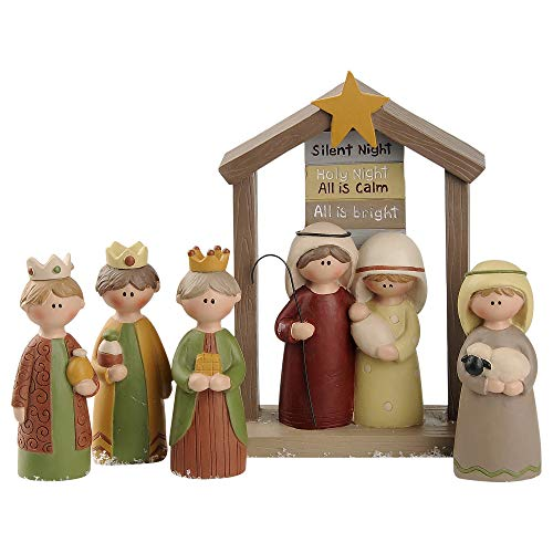 Blossom Bucket Silent Night Nativity 5.25 x 3.5 Inch Resin Stone Christmas Tabletop Figurine Set of 5