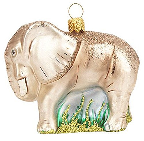 Pinnacle Peak Trading Company Elephant Polish Glass Christmas Tree Ornament Decoration African Wildlife Animal
