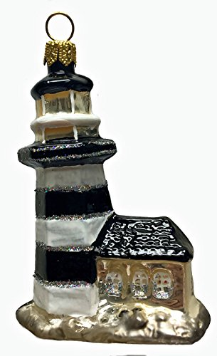 Pinnacle Peak Trading Company Black and White Striped Lighthouse Polish Glass Christmas Ornament Made Poland