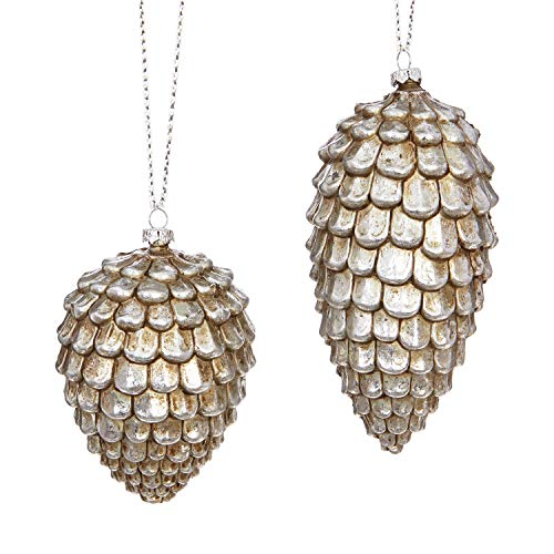 RAZ Imports Silver Plastic Pine Cone Ornament – Set of 2