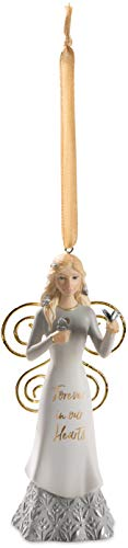 Pavilion Gift Company Forever in Our Hearts-4.5 Inch White & Gold in Memory Figurine 4.5″ Angel Ornament Holding Butterflies, Tall