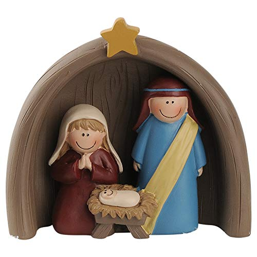 Blossom Bucket Holy Family with Creche 3 x 3.25 Inch Resin Stone Christmas Tabletop Figurine