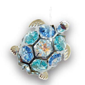 Chrome Plated Sea Turtle Ornament w/Mixed Swarovski Element Crystal