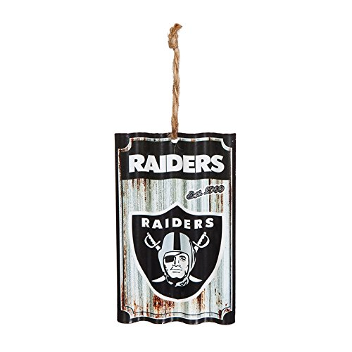Team Sports America Oakland Raiders, Metal Corrugate Ornament, Set of 4