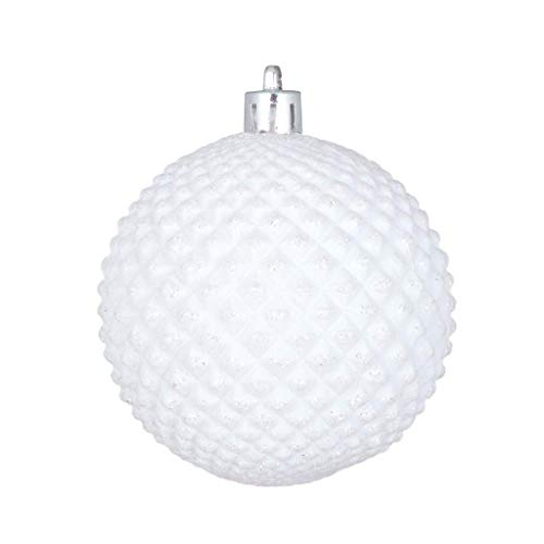 Vickerman 529799-2.75″ White Durian Glitter Ball Christmas Tree Ornament (12 pack) (N188411D)