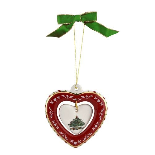 Spode 1667884 Heart Ornament, Green