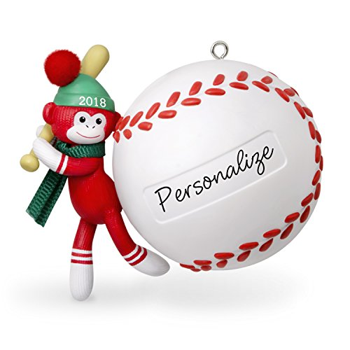 Hallmark Keepsake Personalized Christmas Ornament 2018 Year Dated, Baseball Star Sock Monkey