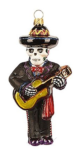 Pinnacle Peak Trading Company Day Of The Dead Musician Playing Guitar Polish Glass Christmas Tree Ornament