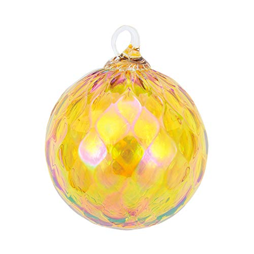 Glass Eye Studio Citrine Diamond Facet Classic Ornament (November)