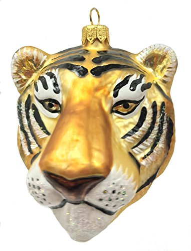 Pinnacle Peak Trading Company Tiger Head Figural Polish Glass Christmas Ornament Wild Cat Animal Decoration