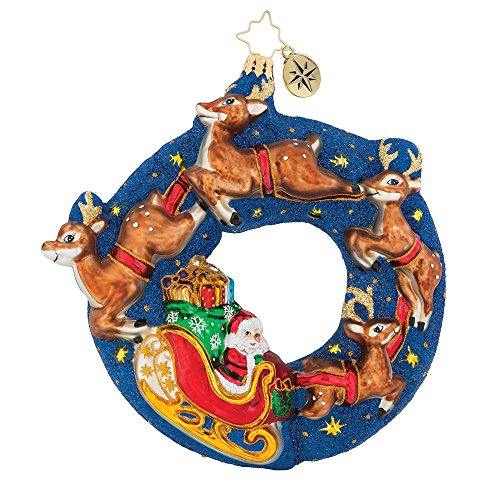 Christopher Radko 6.5″ Santa's Midnight Ride Glittered Christmas Tree Ornament #1018955
