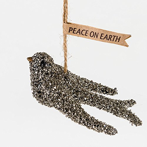 One Hundred 80 Degrees Peace On Earth Dove Glass Glitter Ornament