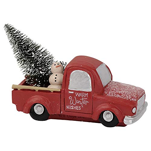Blossom Bucket Warm Winter Wishes Truck 4.5 x 3.75 Inch Resin Stone Christmas Tabletop Figurine