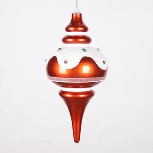 Vickerman 10″ Orange, Snow, and Jewel Candy Finish Finial Christmas Ornament