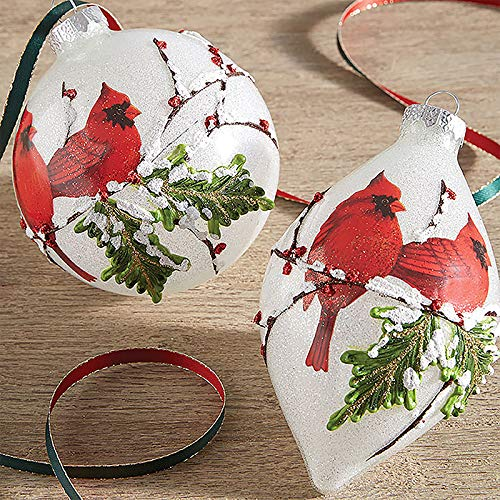 RAZ Imports SET OF 2 Raz 4″ White Iced Cardinal Glass Christmas Ornaments 3824678