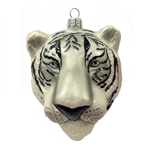 Pinnacle Peak Trading Company White Tiger Hear Figural Polish Glass Christmas Tree Ornament Wild Cat Animal