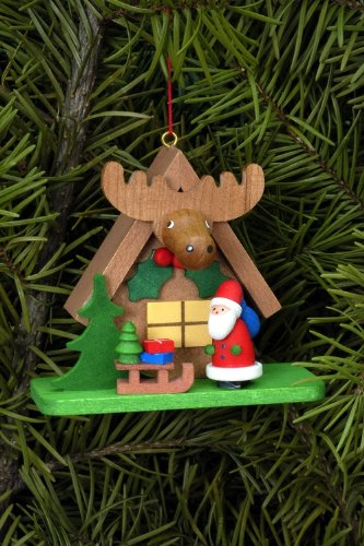 Tree ornaments Tree ornament Forest house with Santa Claus – 7,1 x 6,2cm / 2.8 x 2.4inch – Christian Ulbricht