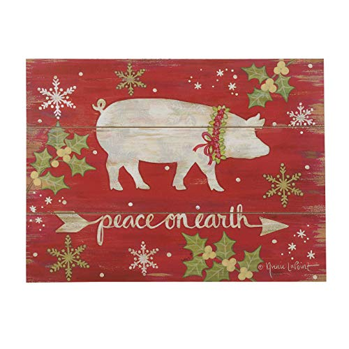 Blossom Bucket Peace on Earth Christmas Pig 11 x 15 Inch Wood Wall Plaque