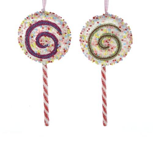 Styrofoam Whimsical Sprinkled Lollipop Ornament Set Of 2