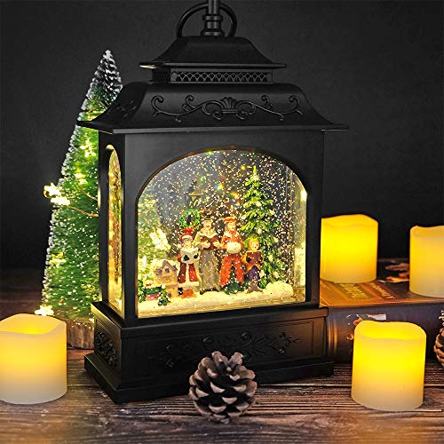 DRomance Musical & Timer 12 Inch Lighted Carolers Christmas Snow Globe with Swirling Glitter, Battery Operated-USB Cord Powered Carolers Water Glittering Snow Globe Lantern