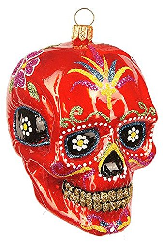 Pinnacle Peak Trading Company Red Mexican Sugar Skull Polish Glass Christmas Tree Ornament Calavera Poland