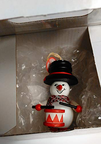 Steinbach Baumbehang Drummer Snowman in Glass Window Box Ornament Pack, Multicolor