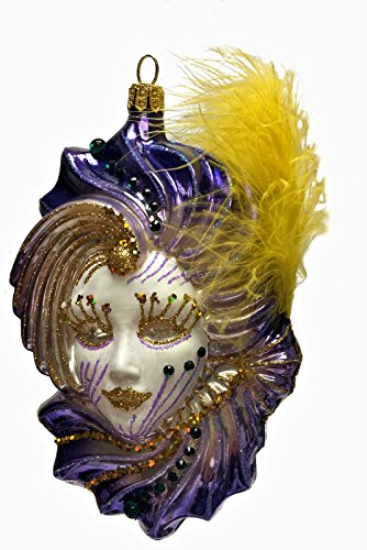 Pinnacle Peak Trading Company Purple Venetian Mask with Yellow Feather Polish Glass Christmas Tree Ornament