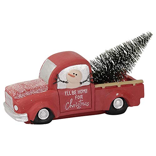 Blossom Bucket Home for Christmas Truck 3 x 5 Inch Resin Stone Holiday Tabletop Figurine