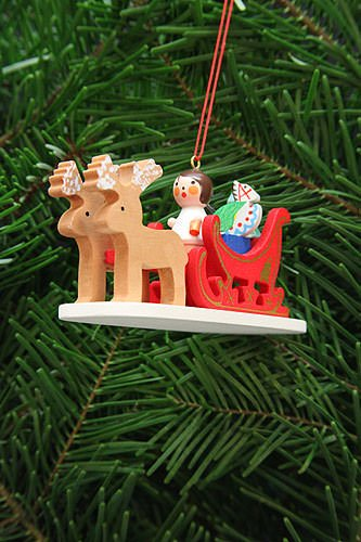 Tree ornament Angel in reindeer sleigh – 9,7cm / 3.8inch