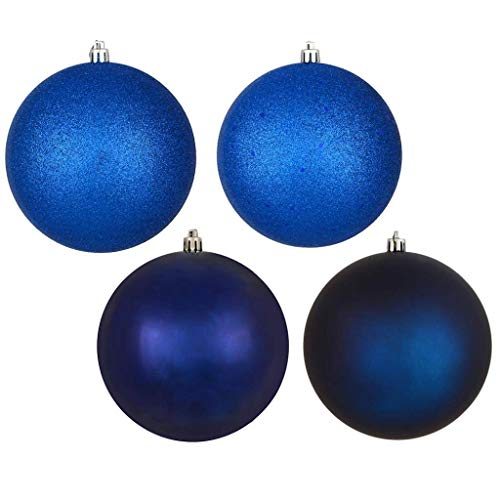 Vickerman 570456-4″ Midnight Blue 4 Finish Matte/Shiny/Sequin/Glitter Ball Christmas Tree Ornament (set of 12) (N591031A)