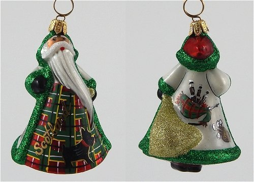 Joy To The World – Glitterazzi Mini Scotland Santa – Blown Glass Ornament