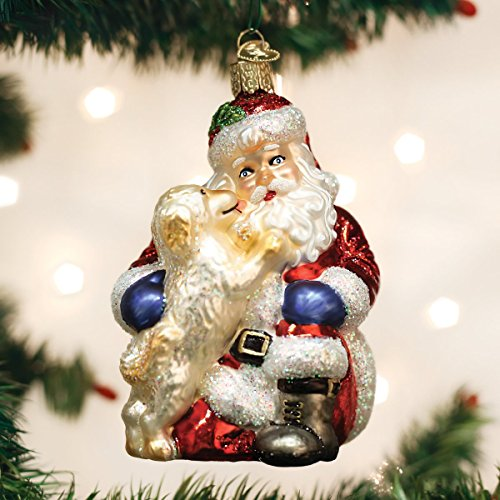 Old World Christmas Glass Blown Ornament Santa's Puppy Love (40293)