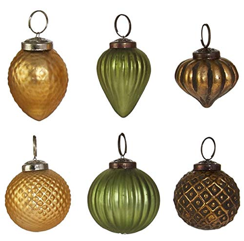 RAZ Imports Modern Metallics Multicolored Glass Assorted Boxed Set of 6 Christmas Ornaments