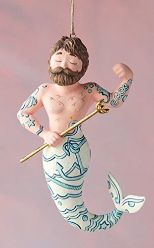 Glitterville Merman Nautical Christmas Tree Ornament, Gold Accents, 6″ Long