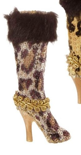 RAZ Imports Leopard Print Boot Ornament, Choice of Colors (white)