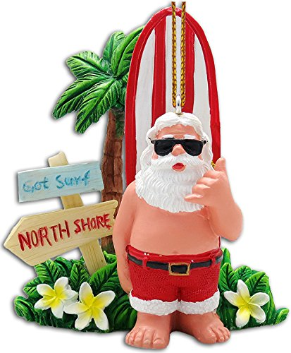 KC Hawaii Got Surf Santa Ornament 2.25″ X 3″